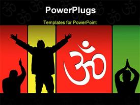 PowerPoint template displaying bright depiction of spiritual postures and om in the background.