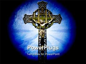 PowerPoint template displaying iHS Christogram Jesus cross light glow background