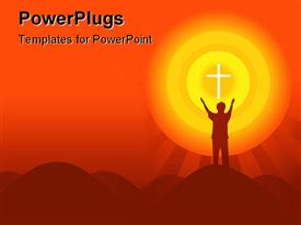 PowerPoint template displaying depiction of a human with both hands stretched toward a cross