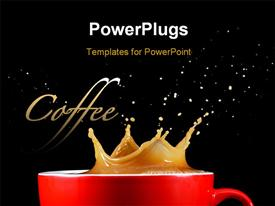 Crown splash of coffee isolated on a black background template for powerpoint