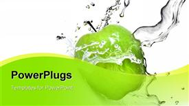 PowerPoint template displaying fresh water splash on green apple