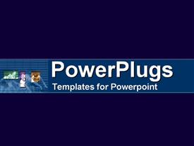 PowerPoint template displaying a plain deep blue background with a middle light blue strip