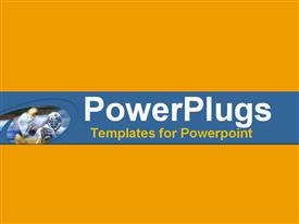 PowerPoint template displaying a plain orange colored background with a blue middle strip