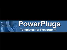 PowerPoint template displaying a plain black background with a blue strip showing a boxer