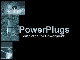 PowerPoint template displaying abstract depiction of three tiles with a black background