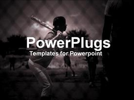 PowerPoint template displaying youth stepping up to the plate to bat, baseball, sports