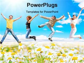 PowerPoint template displaying four people jumping for joy over white and blue background