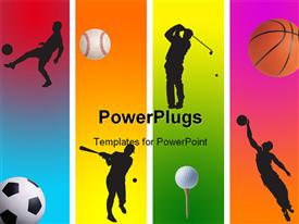 PowerPoint template displaying 3 football golf baseball and basketball in graphic style