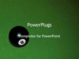 PowerPoint template displaying eight ball on green pool table