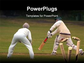 PowerPoint template displaying action depiction of people playing cricket in the background.