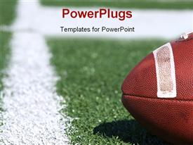 PowerPoint template displaying american collegiate football on a sports field