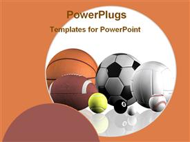 PowerPoint template displaying a collection of football, basket ball, volleyball and tennis ball together