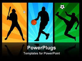 PowerPoint template displaying baseball, basketball, and soccer players in action