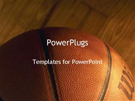 PowerPoint template displaying close-up of basket ball on wooden basketball court