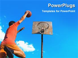 PowerPoint template displaying a basketball [player dunking with clouds in the background