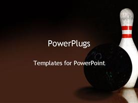PowerPoint template displaying black bowling ball and white pin on chocolate background