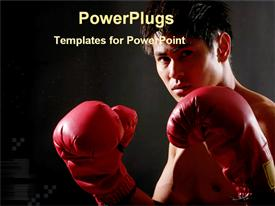 PowerPoint template displaying a boxer ready for boxing with dark background