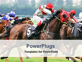 PowerPoint template displaying event of a horse racing in the background.