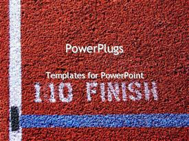 PowerPoint template displaying finish line for 110 metres athletic event