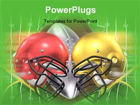 PowerPoint template displaying red and yellow American football helmets on ball and green surface