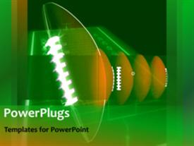 PowerPoint template displaying animated depiction of sports with rugby ball rolling