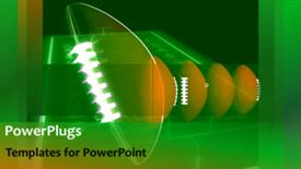 PowerPoint template displaying animated depiction of sports with rugby ball rolling  - widescreen format