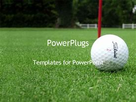 PowerPoint template displaying golf ball on golf course in the background.