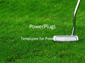 PowerPoint template displaying golf club on grass in the background.