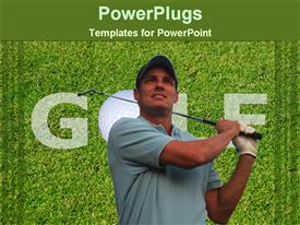 PowerPoint template displaying golfer playing golf in the background.
