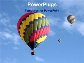 Hot air balloons in sky template for powerpoint