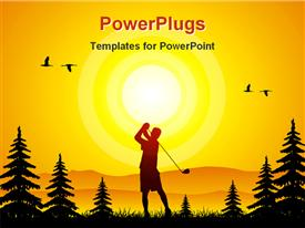 PowerPoint template displaying illustrative depiction showing a man playing golf at sunset in the background.