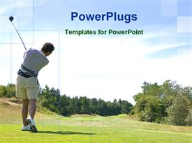 PowerPoint template displaying man playing golf in the background.
