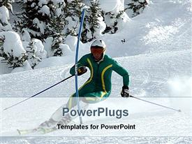 PowerPoint template displaying adult male on green sports wears skating on ice