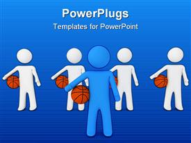 PowerPoint template displaying a number of figures with basketballs