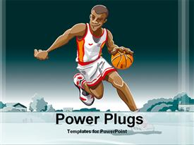 PowerPoint template displaying a basketball player with bluish background