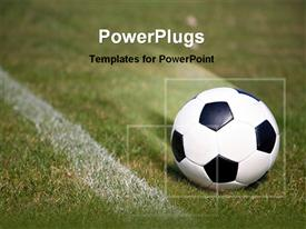 PowerPoint template displaying soccer ball on field
