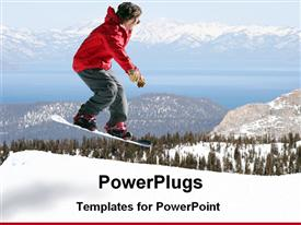 PowerPoint template displaying snowboarded jumping on snowy scenery with mountains and trees