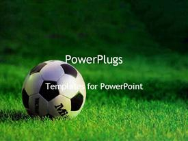 PowerPoint template displaying soccer ball on the field