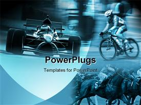 PowerPoint template displaying depiction of lots of sports people in horses and bikes