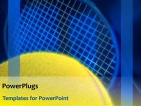 PowerPoint template displaying animated spinning blue tennis racket and rotating yellow ball