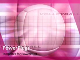 PowerPoint template displaying animated sport depiction with volleyball ball in background