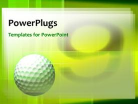 PowerPoint template displaying a green background with a number of patterns and a golf ball