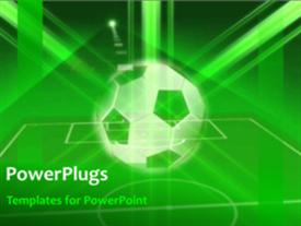 PowerPoint template displaying animated sport depiction with soccer ball and soccer pitch