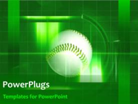 PowerPoint template displaying animated sport depiction with white tennis ball rotating in green background