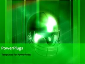 PowerPoint template displaying animated sports depiction with American football protective helmet