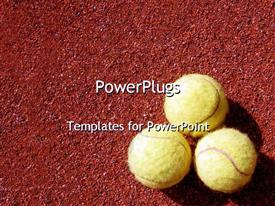 PowerPoint template displaying three tennis balls arranged on red grainy background