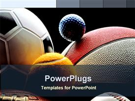 PowerPoint template displaying various balls, American football, basketball, soccer ball, tennis ball, baseball ball, and golf ball on black background