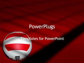 PowerPoint template displaying volleyball on red and black background, white with red and black volleyball ball
