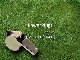 PowerPoint template displaying silver whistle on grass, coaching, leadership, sports, athletics