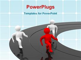 PowerPoint template displaying three figures racing on black mirrored track